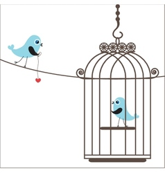 Cute love birds in birdcage vector