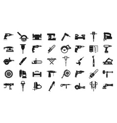 electric tools icon set simple style vector image