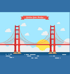flat style golden gate bridge vector image
