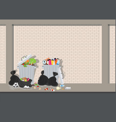 Garbage can full of overflowing trash on blick vector
