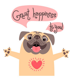 greeting card with cute dog sweet pug vector image