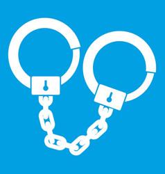handcuffs icon white vector image vector image