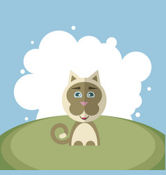 huppy cat on a background of white circles vector image