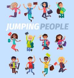 jumping people twelve happy students flat design vector image vector image