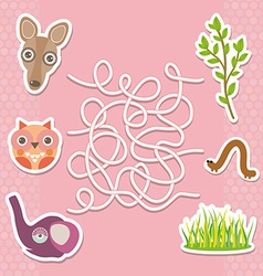 Kangaroo owl elephant labyrinth game for Preschool vector image vector image