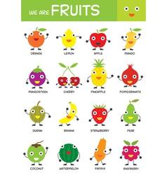 Kids basic fruits chart vector