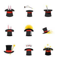 Magic hat icons set flat style vector
