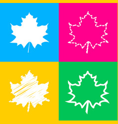 Maple leaf sign four styles of icon on four color vector