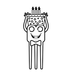 monster comic character with birthday cake icon vector image