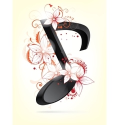 Musical background with notes and floral elements vector image vector image