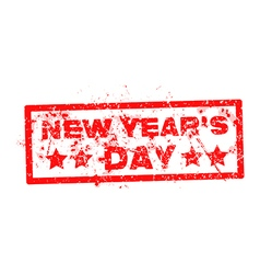 New years day with red text rubber stamp vector