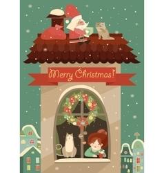 Santa Claus gives Christmas vector image