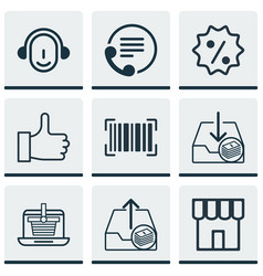 Set of 9 ecommerce icons includes outgoing vector