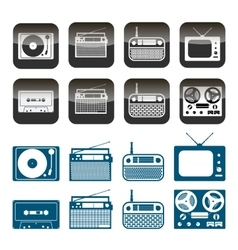 set of radio audio and music icons vector image