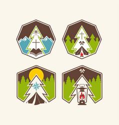 Set of summer camp logo vector