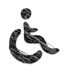 Silhouette hand drawing wheelchair icon vector
