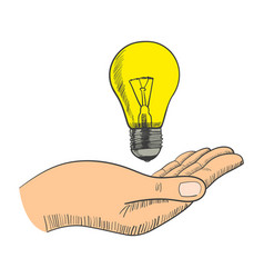 simple graphic of a hand with light bulb vector image