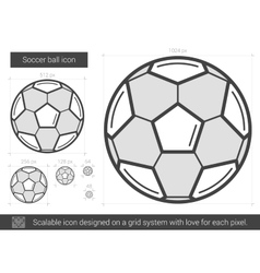 Soccer ball line icon vector