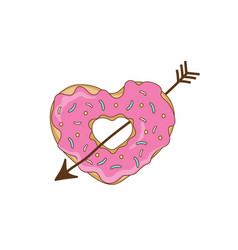 sweet heart from a donut with an arrow vector image vector image