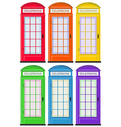 Telephone booths in six colors vector