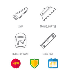 Trowel for tile saw and level measure icons vector