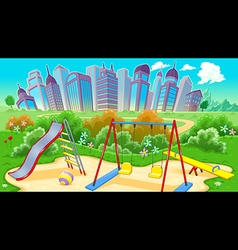 View on the playground with city vector image