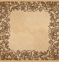 vintage old paper texture background with floral vector image vector image