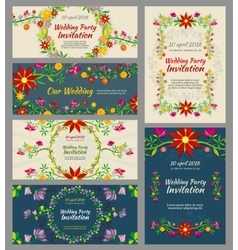 Invitation wedding cards with floral elements and vector