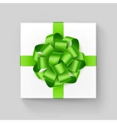 White Square Gift Box with Light Green Ribbon Bow vector image