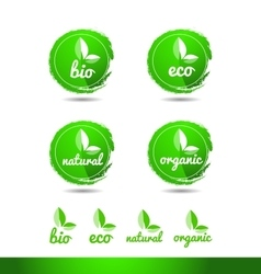 Bio eco natural organic grunge logo icon badge vector