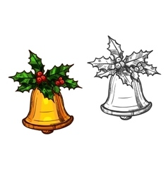 Christmas bell with holly isolated sketch icon vector