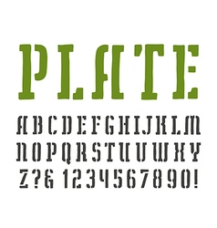 Stencil plate slab serif font vector