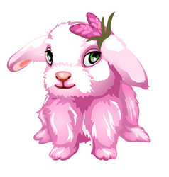Pink fluffy bunny with green eyes isolated vector