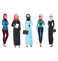 set of business arab woman character with hijab vector image