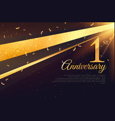 1st anniversary celebration card template vector image