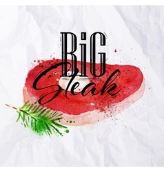 Big steak watercolor vector