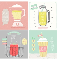 Smoothie cards - hand drawn style vector