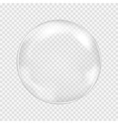 White transparent glass sphere with glares and vector