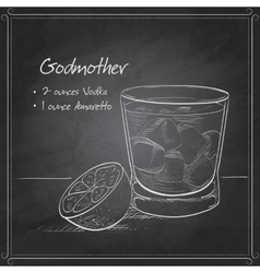 Alcoholic cocktail godmother on black board vector