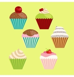 Set of cartoon-style cute muffins vector