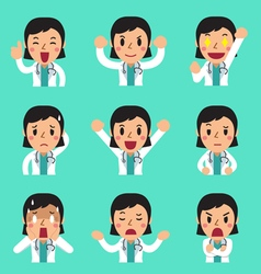 Cartoon female doctor faces showing different vector