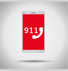 911 call mobile phone symbol vector