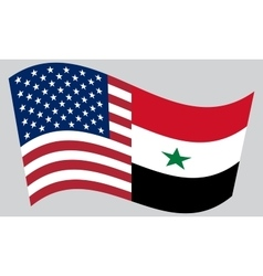 American and syrian flags waving vector