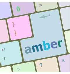 Amber button on modern computer keyboard key vector