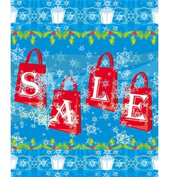 blue christmas background with sale offer vector image