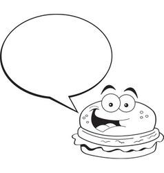 Cartoon hamburger with a caption balloon vector