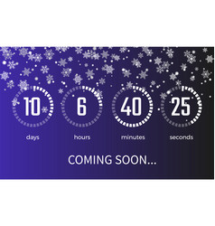 coming soon timer and icons on vector image