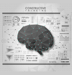 Conceptual polygonal brain with hud elements vector