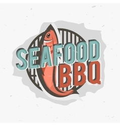 Creative logo design with grilled fish vector