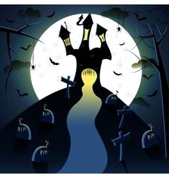Dark castle witn moon vector image